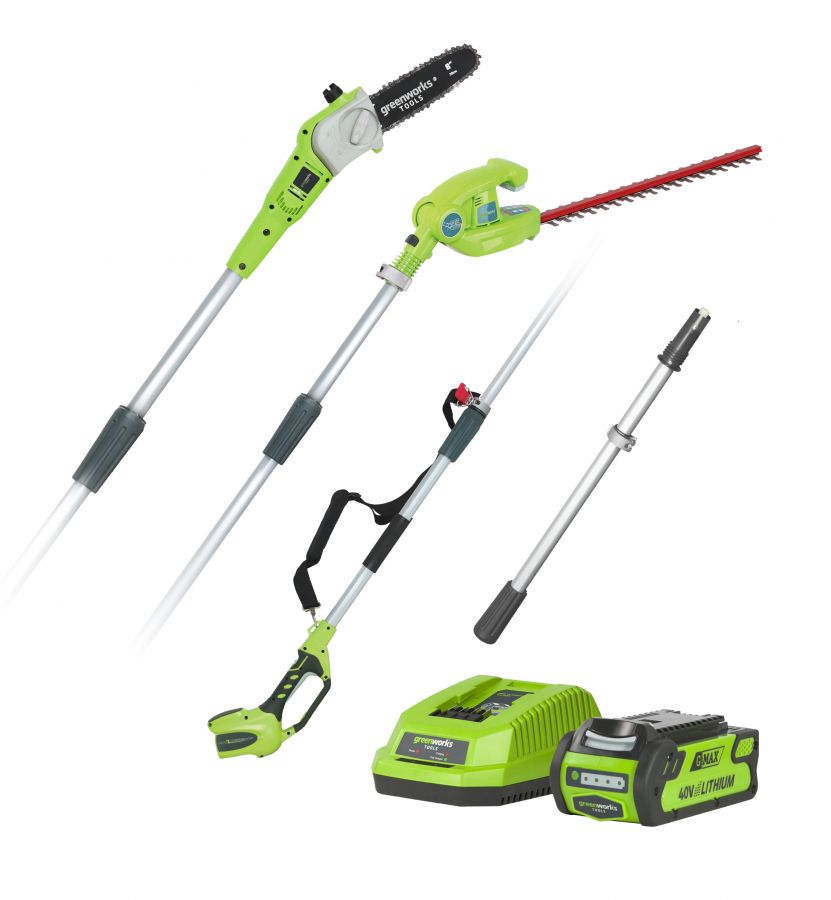 Greenworks 40V Long Reach Hedge Trimmer & Pruner Combo with 2Ah Battery & Charger
