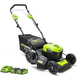 Greenworks 40V 46cm Self Propelled Lawnmower with 2 x 2Ah Batteries & Charger