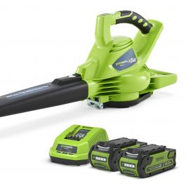 Greenworks 40v Cordless Garden Blower Vacuum With 2 X 2ah Batteries And Charger