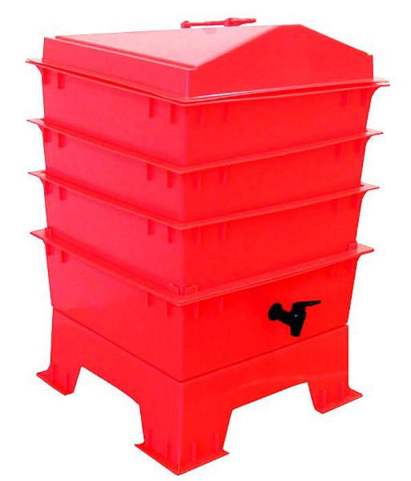3 Tray Deluxe Tiger Wormery in Red (46.5L)