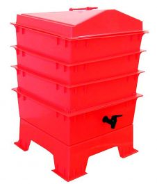4 Tray Deluxe Tiger Wormery in Red (62L)