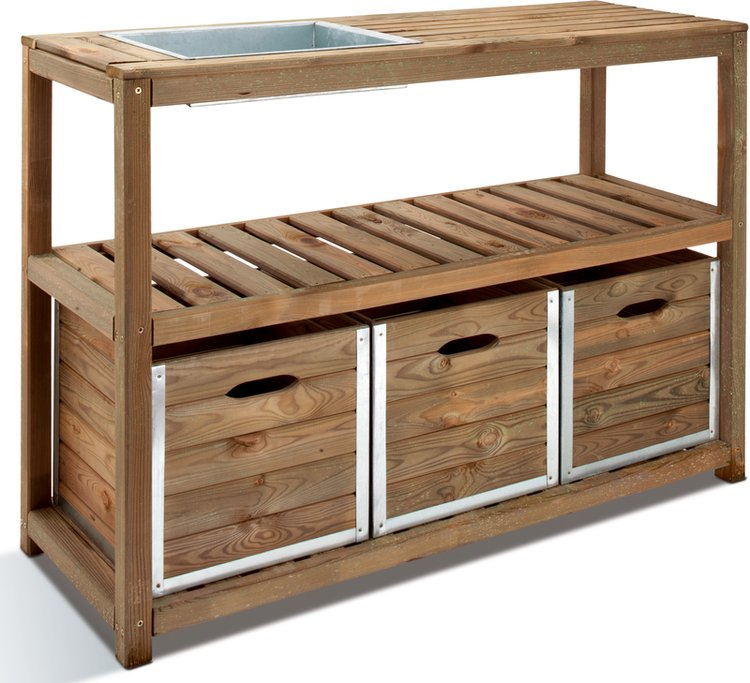 4' Triple-drawer Potting Table