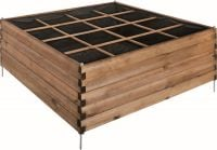 Stained Brown Overlap Raised Planting Bed 16 Square - H 60cm W 1.26m D 1.26m