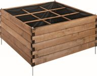 Stained Brown Overlap Raised Planting Bed 9 Square - H 60cm W 96cm D 96cm