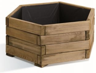 60cm Wooden Pine Natural Hexagonal Planter
