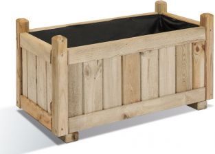 72cm Pine Wood Traditional Trough Planter