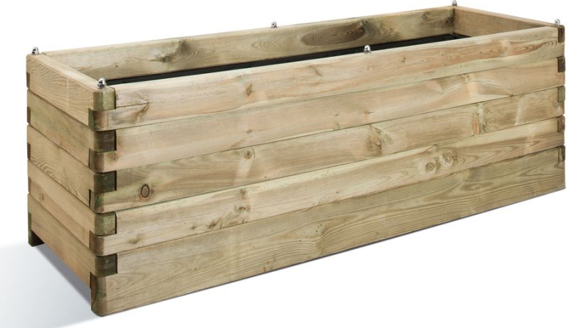 150cm Wooden Pine Interlocking Trough Planter