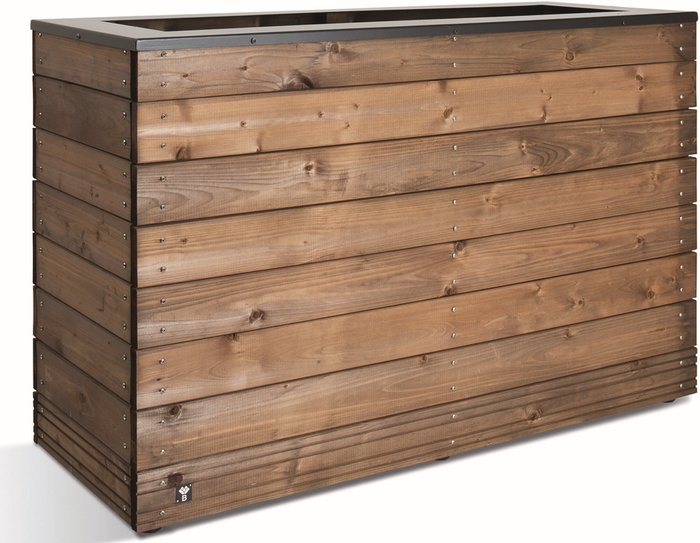 1.2m Wooden Stained Brown Large Trough Planter