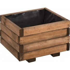 Small Buff-Stained Wooden Planter - 40cm