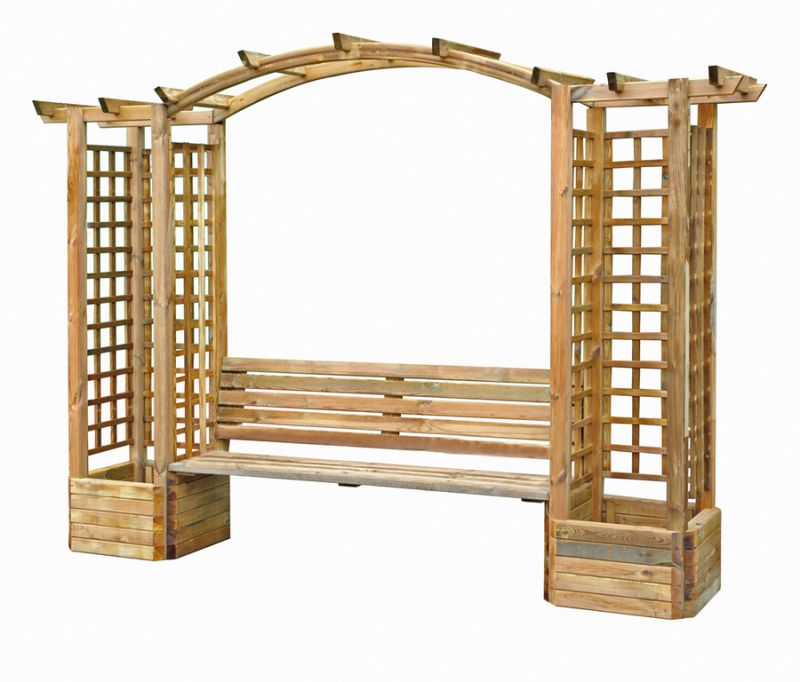 2.3m (7ft 7¾in) Wooden Archway with Seat and Planters -
