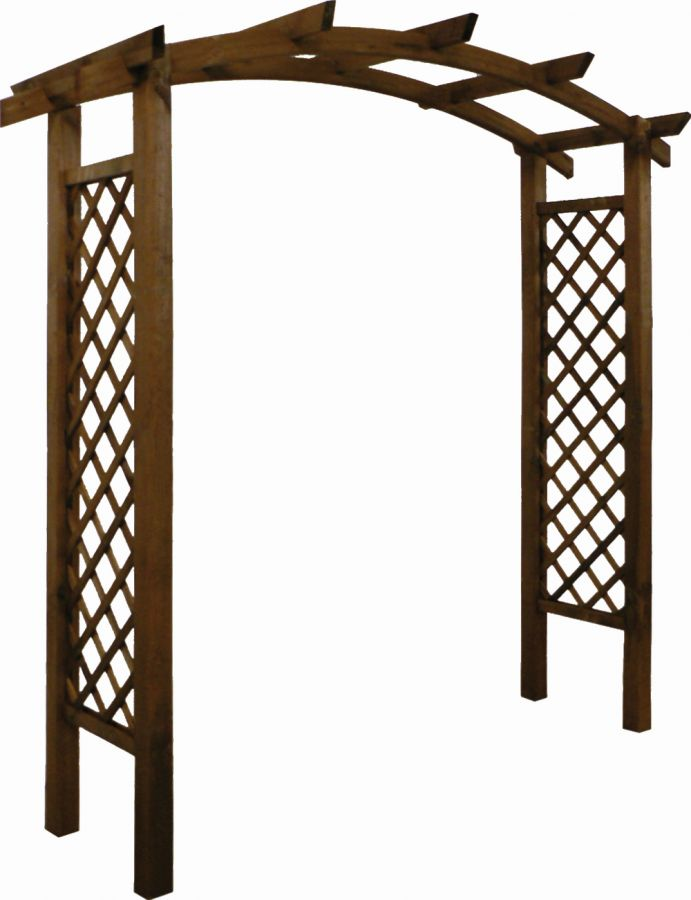 Dark Brown Stained Garden Archway Topped (Diamond Pattern) H 2280mm W 2.2m D 80cm