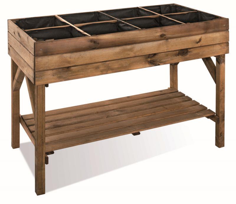 Stained Brown Salad Raised Planting Table - 1.2m x 60cm (H86.5cm)