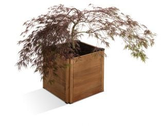 45cm Wood Stained Brown Base Modular Planter