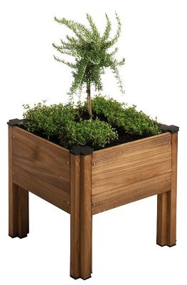27 Litres - Stained Brown Low Level Modular Planter - 45cm² (H41cm)