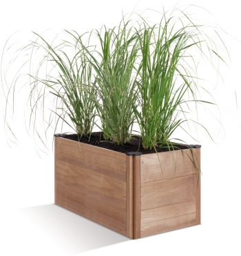 90cm Beech Wood Stained Brown Base Modular Trough Planter