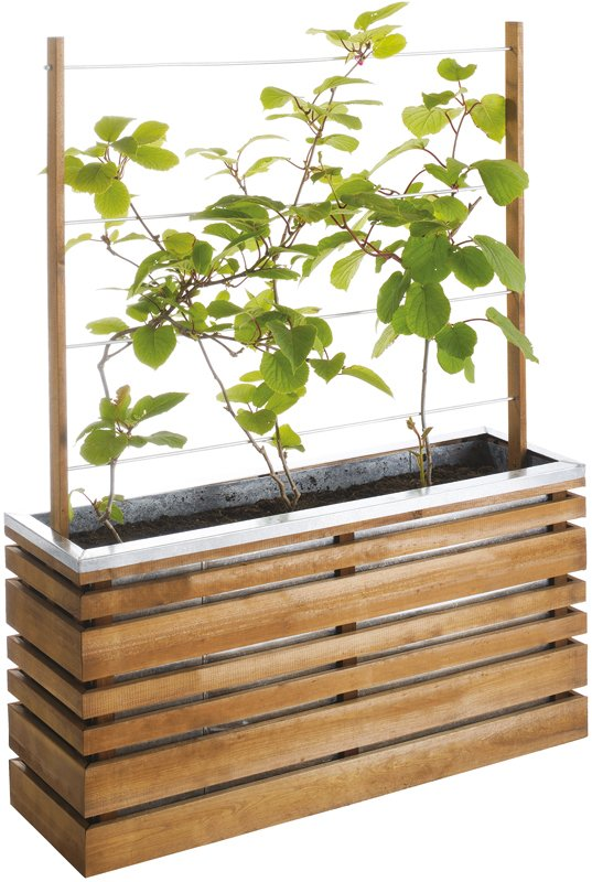 Tinted Brown Planter with Trellis 110 litres - H 1.3m W 1m D 30cm