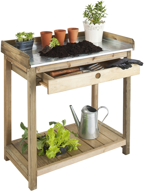 3' Single-shelf Potting Table with Draw