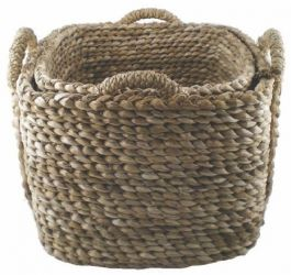 Square Bull Rush  Log Basket -  Medium Small,  40 cm (1ft 3in ) x   50 cm (1ft 7in)