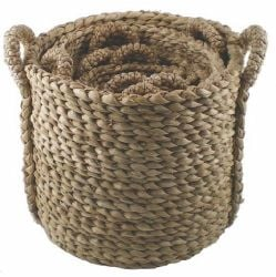 Round Bull Rush  Log Basket - Extra large,  45 cm (1ft 5in) x Diam :58 cm (1ft 10in)