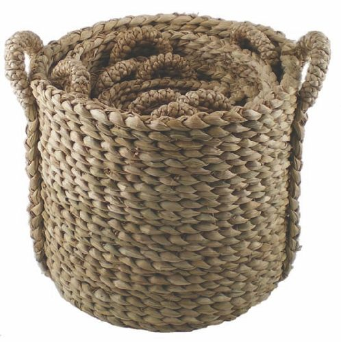 Round Bull Rush  Log Basket - Small, 20 cm (7.8in) x Diam  24 cm (9.4in)