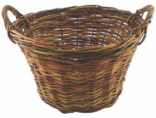 Round log basket rustic willow - 35cm (1ft 2in) x Diam 55 cm (1ft 9in)