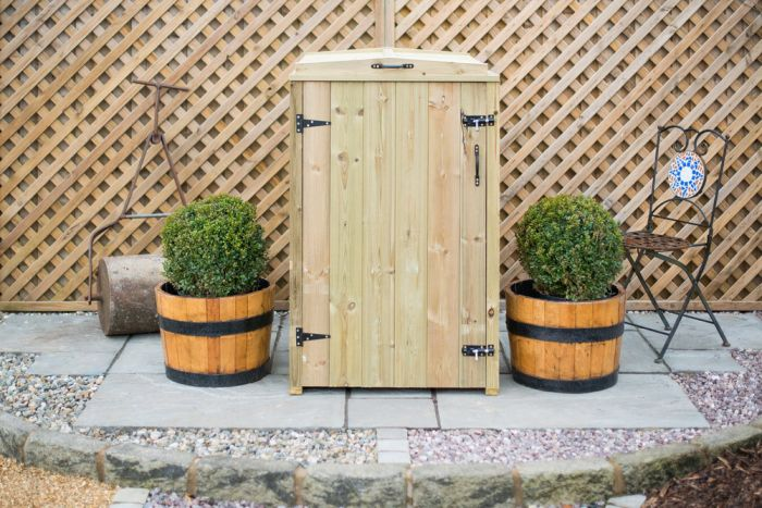 140L Single Chest Pressure Treated Redwood Wheelie Bin Store