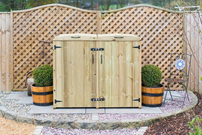 140L Double Chest Pressure Treated Redwood Wheelie Bin Store