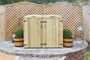 240L Double Chest Pressure Treated Redwood Wheelie Bin Store