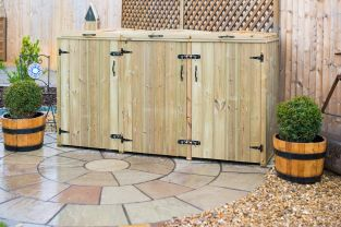 140L Triple Chest Pressure Treated Redwood Wheelie Bin Store