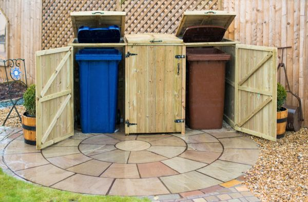 240L Triple Chest Pressure Treated Redwood Wheelie Bin Store