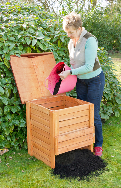 Hinged Lid Wooden Garden Composter 288L by Lacewing 5299
