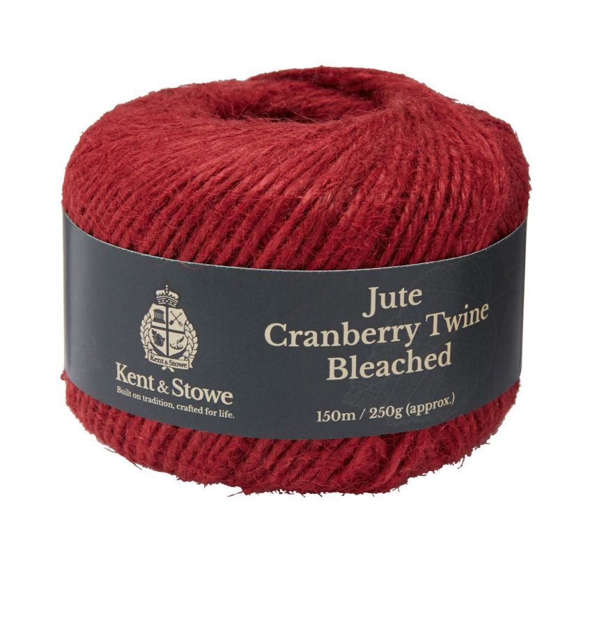 150m/250gm Jute Twine Bleached Cranberry by Kent & Stowe