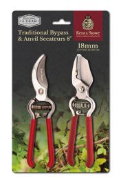 26cm Traditional Bypass and Anvil Secateurs by Kent & Stowe