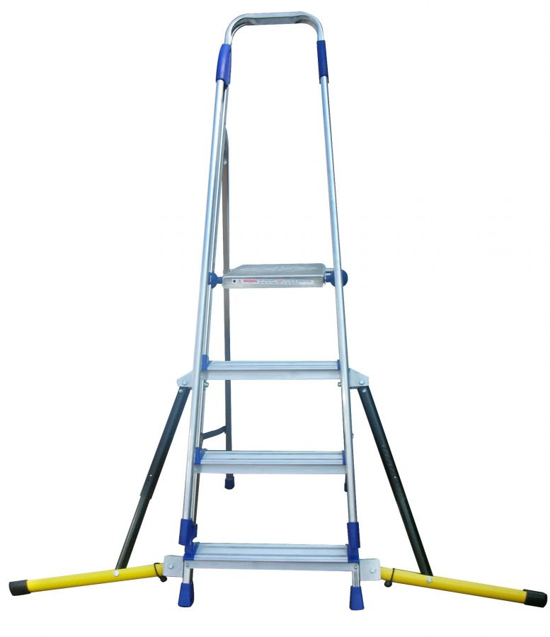Stabilised Aluminium Stepladder with handrails  - 4 tread