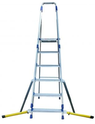 Stabilised Aluminium Stepladder with handrails - 6 tread