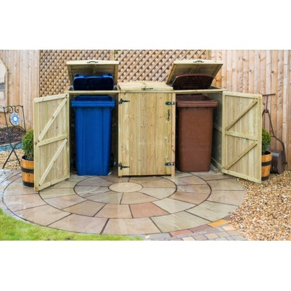 360L Triple Chest Pressure Treated Wheelie Bin Store