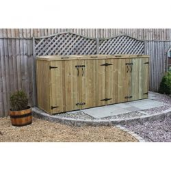 360L Quad Chest Pressure Treated Wheelie Bin Store