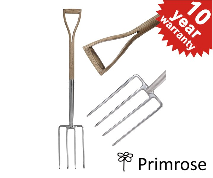 Primrose Stainless Steel Digging Fork with Wooden Handle