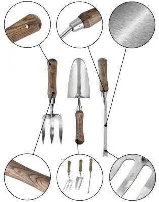 Primrose Tool Set - Stainless Steel Weed Fork, Hand Trowel, and Hand Weeder with Wooden Handles