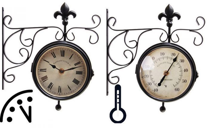 Outdoor Clock With Thermometer On Bracket - 25cm