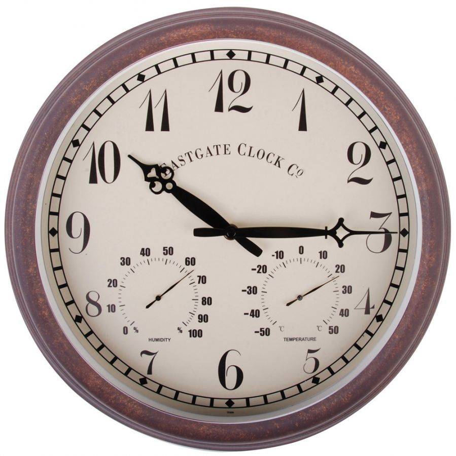 Outdoor Wall Clock & Weather Station, Numerical - 38cm