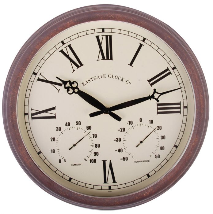 Outdoor Wall Clock & Weather Station, Roman - 38cm