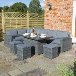 Thornbury Six Seater Rattan Corner Dining Set in Grey by Rowlinson