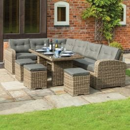 Thornbury Six Seater Rattan Corner Dining Set by Rowlinson