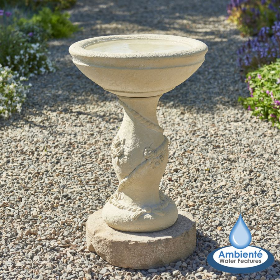 38cm Yorkshire Rose Patterned Stone Bird Bath by Ambienté™