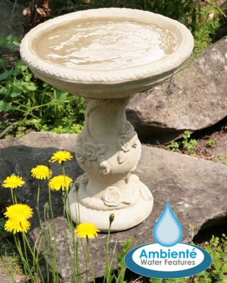 Yorkshire Rose Patterned Stone Bird Bath (38cm) by Ambienté