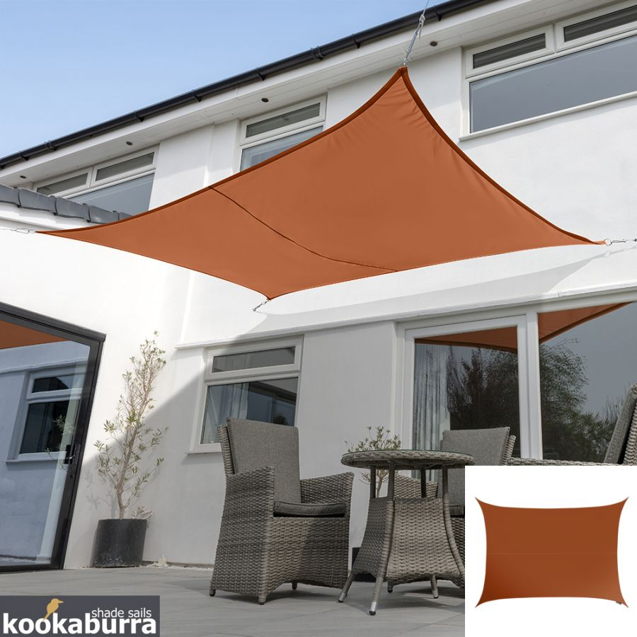 Kookaburra® 5mx4m Rectangle Terracotta Knitted Breathable Shade Sail (Knitted)