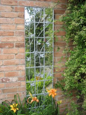 6ft 11in x 1ft 5in Outdoor Galvanised Metal Trellis Mirror