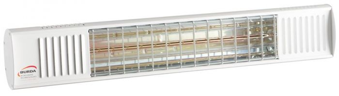 1.65kw White Waterproof Infrared Heater with Ultra Low Glare by Burda™