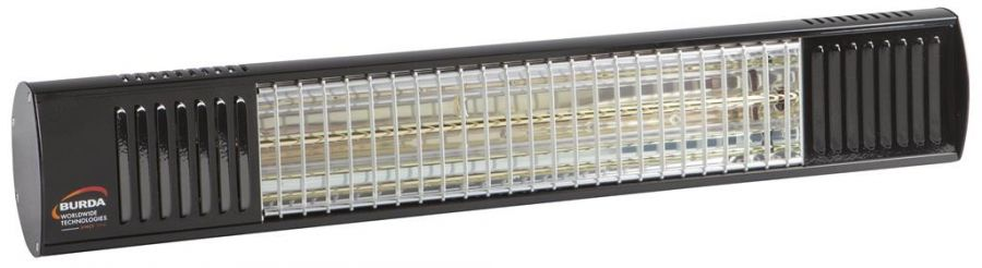 2kw Black Waterproof Infrared Heater with Ultra Low Glare by Burda™